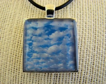 Photo Jewelry, Resin Pendant, Clouds in the Sky, Blue, White, 1 inch, Square, Landscape, Sky, Unisex