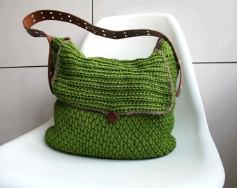Crochet pattern, crochet bag pattern, Leather handle carry all crochet purse 178 Instant Download