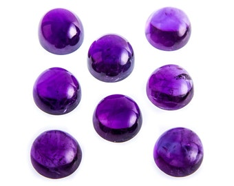 0.88 Ct Natural Purple African Amethyst Gemstone Round Cab Size 6 mm