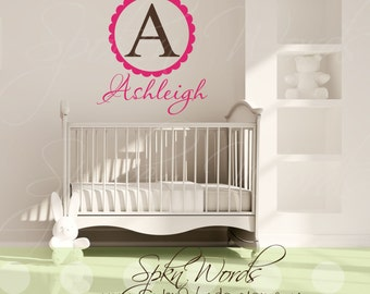 """Personalized Monogrammed Name Girl Vinyl Wall Decal...............""""Your choice of color"""""""