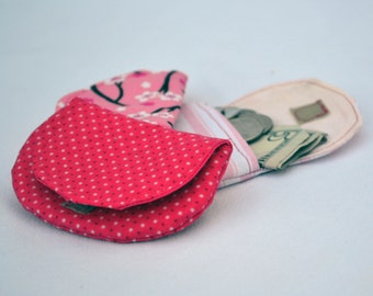 Three pink coin purses,  change purse, pouch, coin bag, mini wallet, purse, pocket pouch, womens gift, change wallet, stocking stuffers
