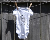White Totoro with green leaf Baby Onesie