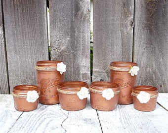 15 -  COPPER WEDDING JARS - Shabby Chic Upcycled Country Wedding Decor, Candle Holders and Vases