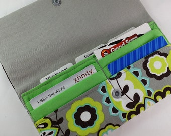 Cash Envelope Wallet with Dividers & Credit Card Slots -for use with the Dave Ramsey System- Aqua Medallion.