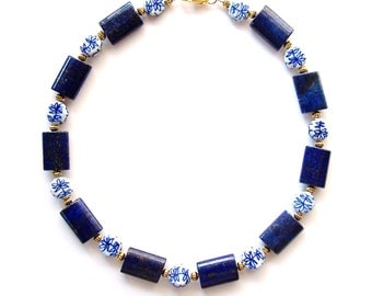 LAPIS & PORCELAIN NECKLACE - Genuine Gemstone and Handpainted Blue and White Porcelain, Accented with Antiqued Brass