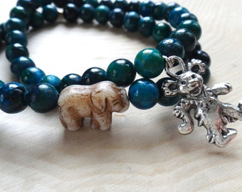 Sapphire Australian Jasper Beaded Bracelet with Silver Dancing Bear