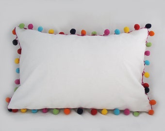 Pom Pom Ribbon - Decorative Pillow Cushion Covers - Accent Pillow - Throw Pillow - Lumbar - Multi -  12 x 18