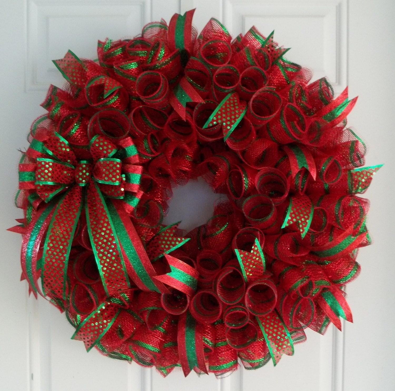 Christmas Mesh Wreath Christmas Wreath Holiday Wreath