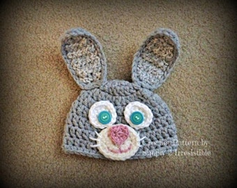 Chunky Bunny Beanie - Quick and Easy - With optional Face Embellishments - Crochet Pattern 73 - tutorial - INSTANT DOWNLOAD