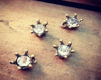 Wholesale Lot - Diamond Drop Gems in Antique Bronze Setting Rhinestone Crown Jewels Charm ...