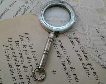 1 Pc Vintage Style Nautical Magnifying Glass Pendant REALLY WORKs Nautical Shiny SILVER Brass (BA046)