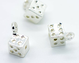 4 - Small Dice charms in Sterling Silver Plated Charms Games Yahtzee Casino Vegas Dice Games