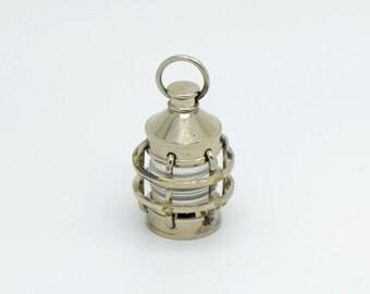 1 - Vintage Style Lantern Pendant Charm  Nautical Silver (BA037)