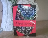 Red and Black  Happy Birthday Card,  Hand Made Card