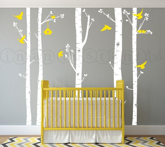 Custom Order 120 Birch Tree Wall Decal With Love Dove