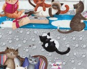 Benartex Fabric - Kitty Galore - Cat Lounge - Gray - Novelty Fabric- Choose Your Cut 1/2 or Full Yard