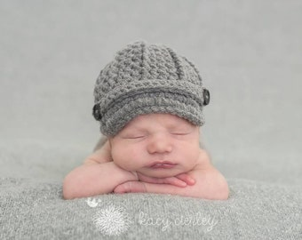 boys hat, baby boy hat, newborn hat, newborn baby hat, newborn boy hat, newsboy hat, baby hat, button hat