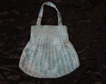 80's Sparkle Blue Beaded Evening Bag
