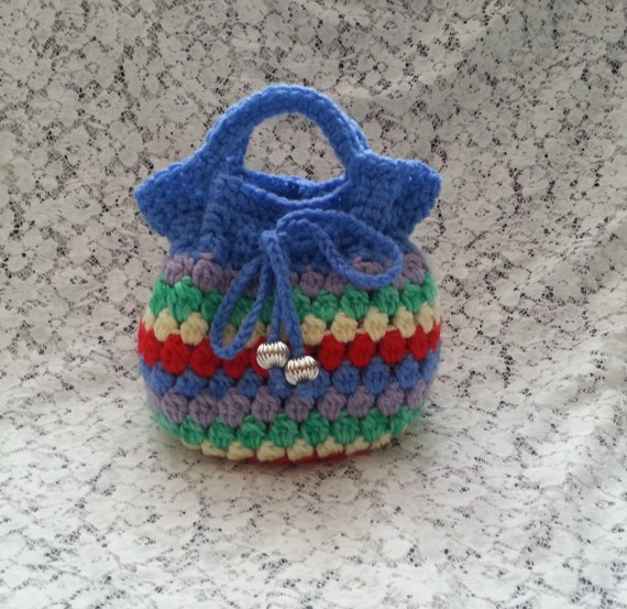 Crocheted Drawstring Bag - Fully Lined - Multi Color Bag