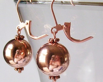 Genuine Shiny Copper 12.7 mm Ball Earrings with Copper Plated Leverbacks