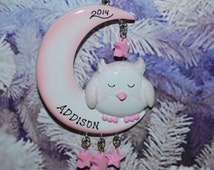 Sleeping Owl Baby Girl Personalized Ornament