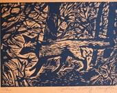Fox Linoleum Print