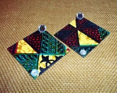 Mraba Large Square Wooden Earrings