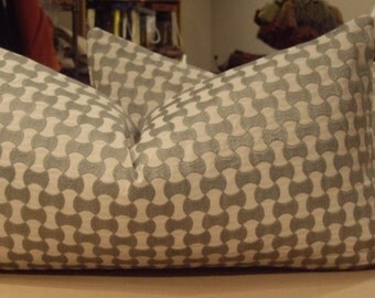 "Schumacher Zinc ""NOLITA EMBROIDERY"" Geometric Custom Bolster Pillows Pair - French Heavy Linen Back - 12"" by 23"""