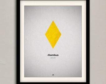 Basic Shapes Rhombus Print  | 8 x 10 | Digital, Wall Decor, Poster Print, Modern Vintage