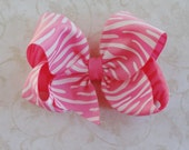 Hot Pink Zebra Print  Twisted Boutique Bow - Baby Hairbow - Girls Hairbow