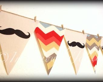 Multi Color Chevron print Mustache Banner-Little Man Party-Mustache Party-Party Banner-Multi Color Chevron-Baby Shower-Mustache Theme