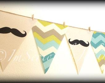 Mustache Banner-Little Man Party-Mustache Baby Shower-Moustache bunting-Mustache Party Banner-Mustache Theme