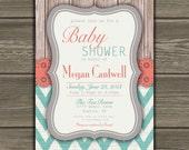 Chevron Baby Shower Invitation Coral Teal Gray Custom DIY - 004