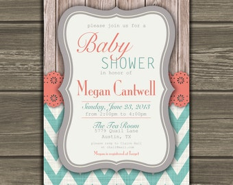Chevron Baby Shower Invitation Coral Teal Gray Custom DIY - 004