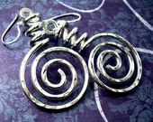 Funky Earrings Wire Wrapped Jewelry Handmade Spiral Earrings Hammered Earrings Aluminum Wire Jewelry Hammered Aluminum Jewelry Funky Jewelry