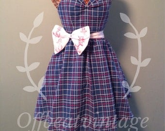 Womens Red White and Blue Plaid Party Dress with Red and White Anchor Print Bow Vintage Inspired Full Skirt Sweetheart Neckline size Medium