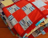 Bohemian Quilt Blanket Throw -  Chic Americana Home Decor,  Mid Century Modern 1940s Blanket For BED,