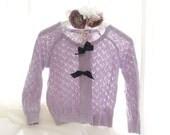 SUMMER CLEARANCE SALE -  Soft Lavender Purple Crocheting Sweater Cardigan Bow - Romantic Chantilly Audrey Hepburn
