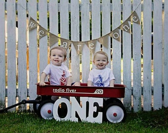 TWINS FIRST BIRTHDAY, We Are One, Twins Banner, First Birthday Photo, Triples Birthday, 1st Birthday, Burlap Birthday, First Birthday Twins