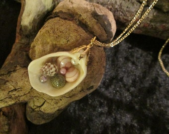 Natural Shells and Beads Pendant 4.5cm on Gold Plated Chain