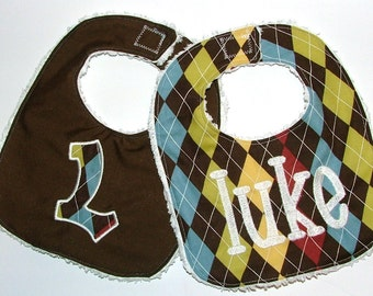 Monogrammed Personalized Bibs Gift Set of 2 Embroidered Newborn To Toddler Boy Chenille Baby Bibs