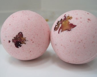 2 Rose Scented Bath Bombs with Handmade Soap Inside