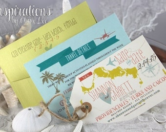 save the date luggage tags, destination wedding, save the date, luggage tag