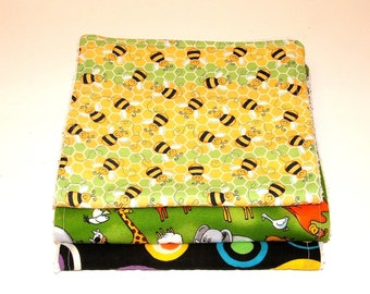ANIMAL PRINT BURP Cloths  - Set of Three  100% cotton