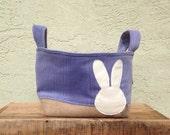 purple velvet & burlap bunny bucket