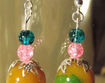 Multicolor Glass  Beaded Dangle Earrings #6