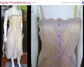 20% OFF ENTIRE STORE Vintage 1970s First Glance Prairie Button Front Sundress Pastel Stripe Lace Ruffles Boho Hippie