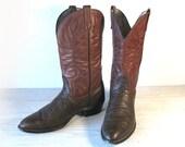 60's Vintage Cowboy Work Boots, MASON Brown Bullhide & Cinnamon Leather, Men's size 12 C