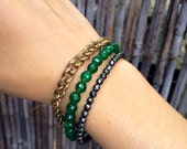 Chandra - Layered Green Jade, Hematite, and Gold Chain Bracelet