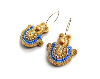 Handmade Soutache earrings  - elegant, colorful, classy and unusual Soutache Jewelry - Jewel of the Nile 2